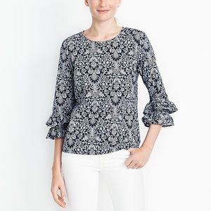 J. Crew Factory Printed Double Ruffle Sleeve Top